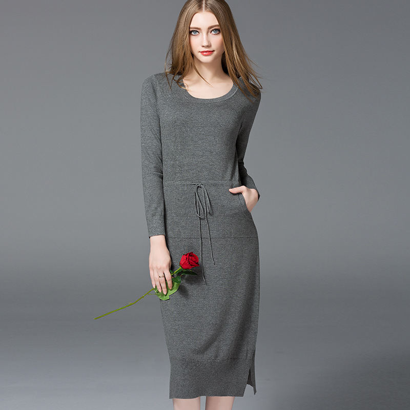 New arrival fashion autumn high quality slim women dress  knitted cotton rayon long style solid o neck long sleeve women dress free shipping women lace dress 2016 autumn style good quality half sleeve casual dress o neck 55