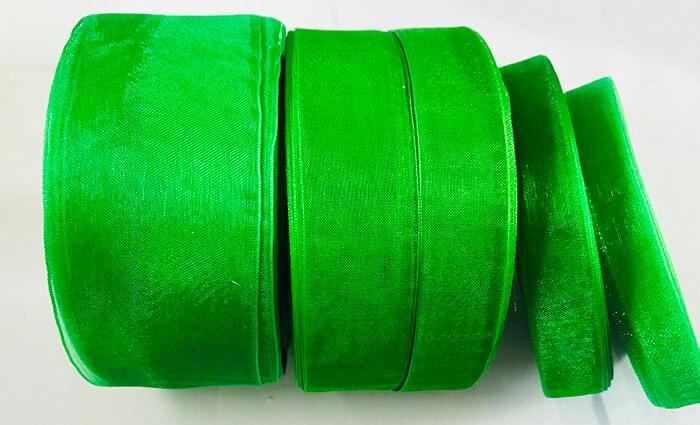 Geinne 12 мм-50 мм шириной 50 ярдов/рулонов зеленая лента из органзы оптовая продажа подарочной упаковки рождественские ленты