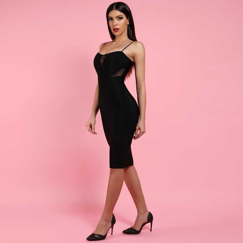 Cerf dame robes de pansement 2019 nouveautés discothèque noir robe de pansement moulante Sexy col en V robe de pansement maille Patchwork