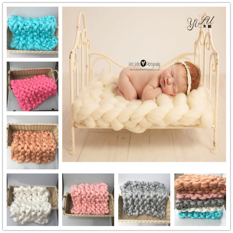 Crochet Knit Merino Wool Rug Felt Blanket Background Photography Props Photographic Backdrops Newborn Props Basket Stuffer Photo