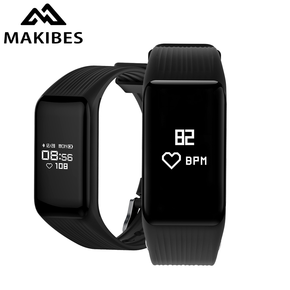 11.11 New Makibes HR2 Bluetooth 4.0 Men Women Smart Bracelet Fitness Activity Tracker Continuous Heart Rate Monitor Wristband