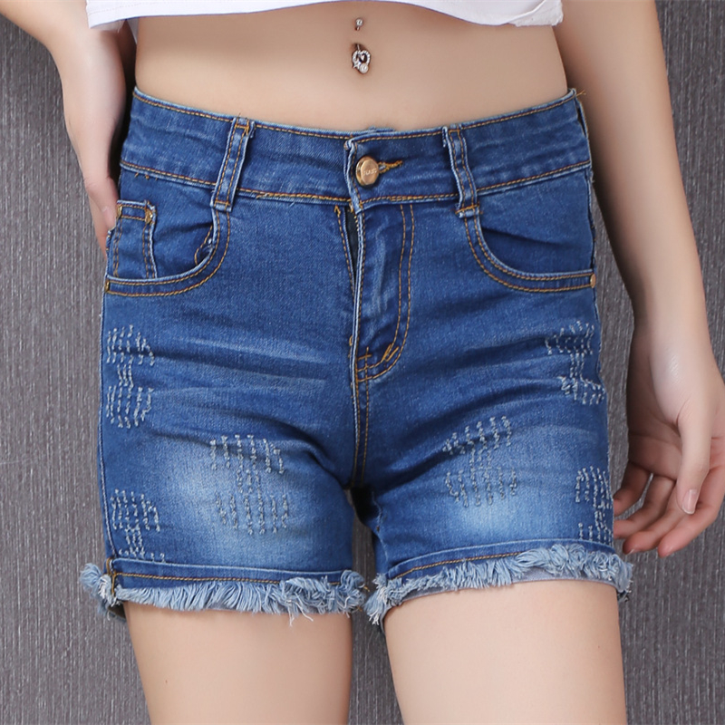 Summer Lady Fashion Casual big yards Slim Lady jean shorts elastic thin curling denim shorts Blue Straight Women shorts Z2183