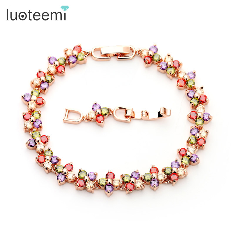 LUOTEEMI New Fashion Design Real Rose Gold Plated font b Women b font Luxury Wedding Accessories