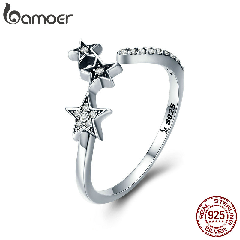 BAMOER 100 Authentic 925 Sterling Silver Stackable Star Adjustable Finger font b Ring b font for