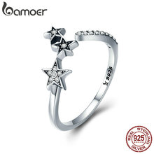 BAMOER 100% Authentic 925 Sterling Silver Stackable Star  Adjustable Finger Ring for Women Sterling Silver Jewelry Gift SCR312