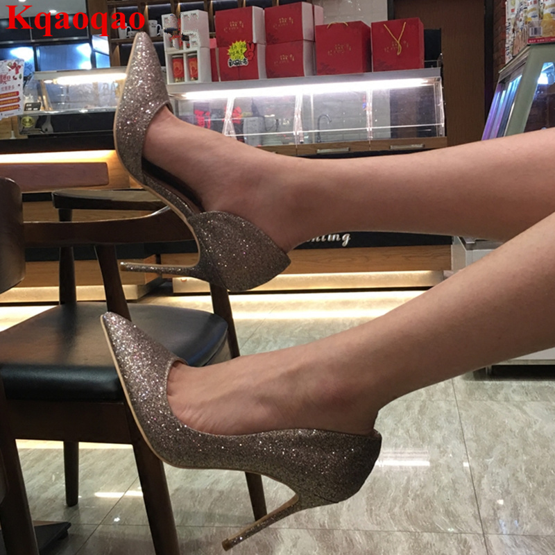 New Pointed Toe Bling Sequined Cloth Women Pumps Brand Stiletto High Thin Heel Wedding Party Bride Shoes Pompes Pour Femmes