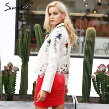 Simplee Embroidery floral faux leather jacket White basic jackets outerwear coats Women casual autumn winter jacket