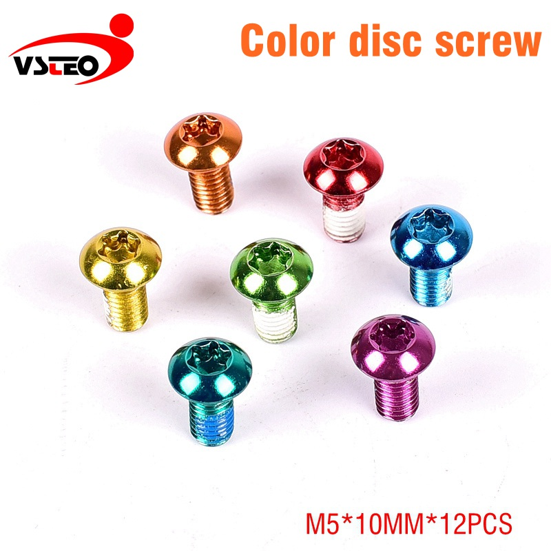 Disc screw Mountain Bike T25 Disc Brake Rotors <font><b>Bolts</b></font> <font><b>M5</b></font>*10 mm MTB Stainless Steel Rotors fixed screws 12 piece / lot Multcolor image