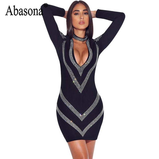 72e4d931ea5 Abasona Sexy V Neck Geometric Diamond Dress Black Long Sleeve Bodycon  Pencil Dress Women Nightclub Party Wrap Mini Dresses 2019