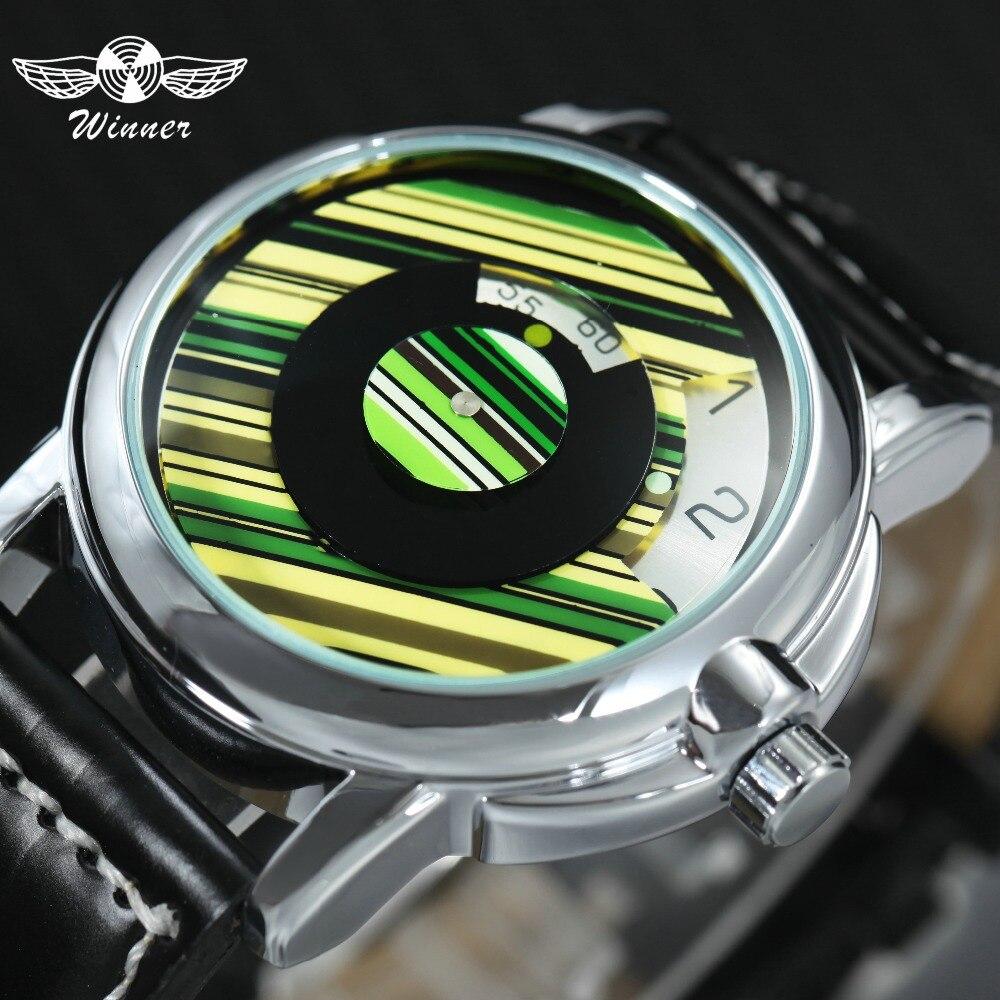 GEWINNER Top Marke Luxus Auto Mechanische Uhr Männer Leder Band Halbe Abdeckung Dreh Zifferblatt Mode Casual Handgelenk Uhren 2018
