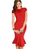 Женщин облегающие beautiful tight платье новый плюс размер женская одежда лук шеи до колен офис винтаж дамы платья