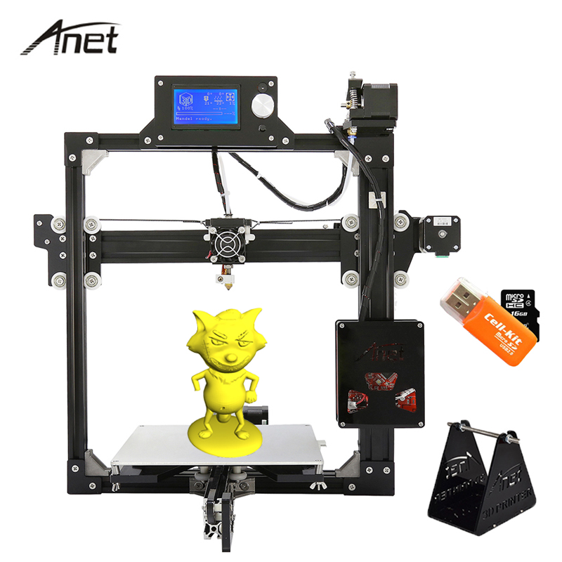 Anet High Precision A2 3D Printer impresora 3d Aluminium Structure DIY Kit imprimante 3d Large Print 220*270*220mm Printers anet a8 a6 3d printer high precision impresora 3d lcd screen aluminum hotbed extruder printers diy kit pla filament 8g sd card