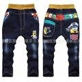 Бесплатная доставка Детей джинсы брюки Весна и осень случайные штаны мультфильм 2-3 лет мальчиков младенца Джинсы