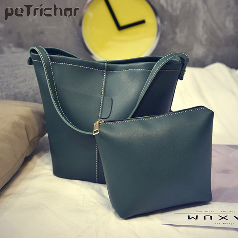 Petrichor Famous Brand Fashion Women Composite Bag Female Soild Shoulder&Handbags Soft PU Leather Hasp Bucket for Ladies micocah fashion women shoulder bag 2 colors quality brand handbags for female pu leather gh50007