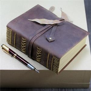 Image 1 - 2018 neue 100% Crazy Horse Kopf Leder Handbuch Super Starke Buch Notizblock Kraft Papier Leere Seite Europäischen Retro Magie Gewinde boun