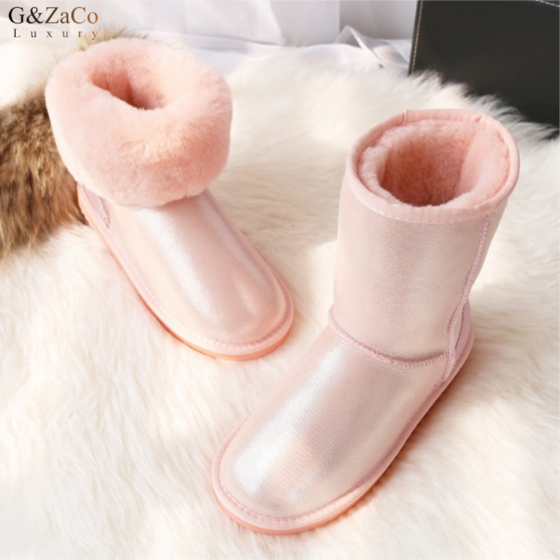 G&Zaco Luxury Brand Pink Sweet Sheepskin Boots Mid Calf Natural Sheep Fur Snow Boots Girl Elegant Winter Sweet Wool Boots купить в Москве 2019