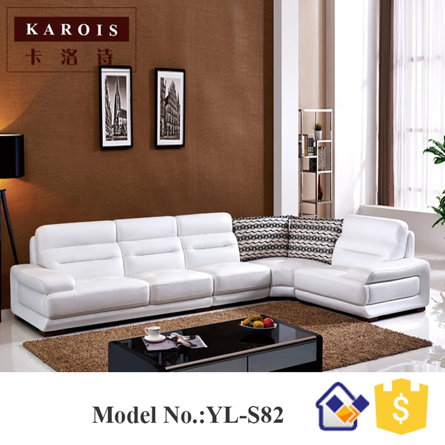 Living Room Furniture Foshan White Pure Leather Sectional Sofa Set Genuine