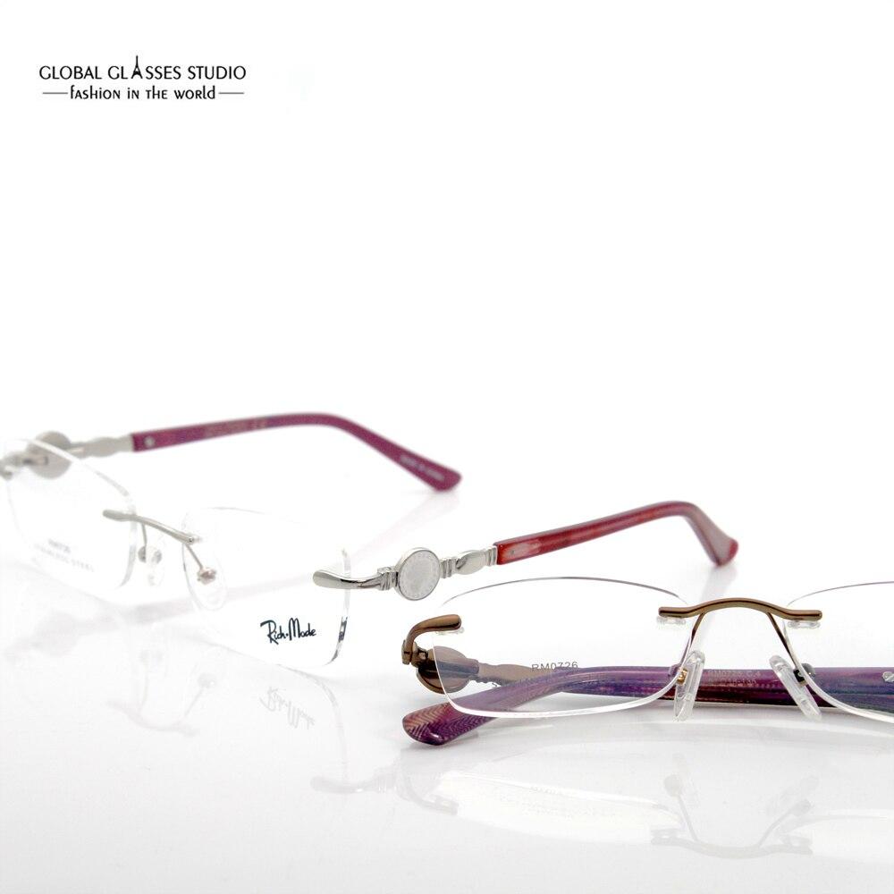 Nuevas mujeres de lujo famosa marca clásica anteojos sin montura ...