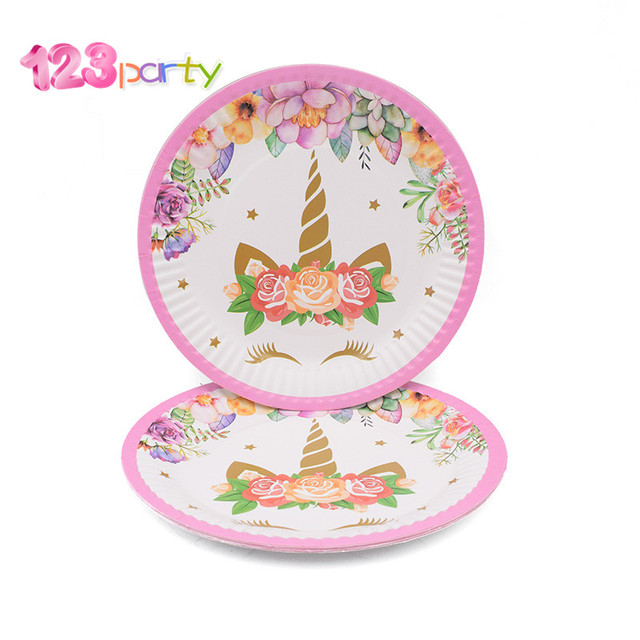 123 Party Unicorn Kits 1st Birthday Headband Paper Cups Plates Napkin Decorations Kids Baby Shower