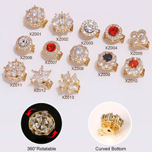 New 5pcs/lot rotatable zircon nail art jewelry decoration metal luxury diamond accessories professional supplies