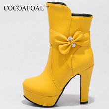 b0455f60436a2 COCOAFOAL mujer nudo mariposa roja botines negro blanco invierno Chelsea  tacones altos botas más tamaño 33 43 Crystal Martin bot.