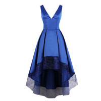 Tanpell v neck evening dress royal blue sleeveless tea length a line gown lady cocktail party homecoming formal evening dresses