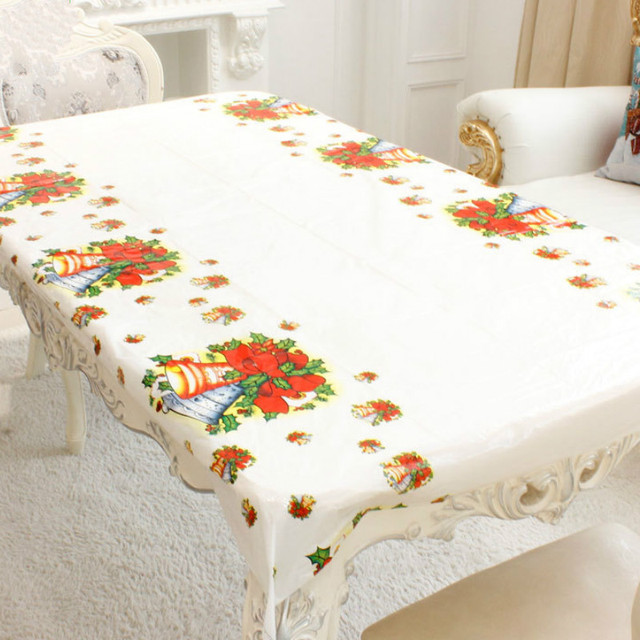 180CM Christmas Tablecloth Rectangular PVC Party Table Covers New Year Home Kitchen Dinner Table Decoration Christmas Ornaments