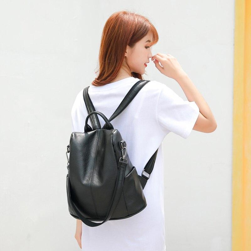 Image 2 - POMELOS, женский рюкзак, высокое качество, мягкий, из искусственной кожи, Противоугонный рюкзак для женщин, водонепроницаемый рюкзак для женщин, уличный стиль, рюкзак-in Рюкзаки from Багаж и сумки