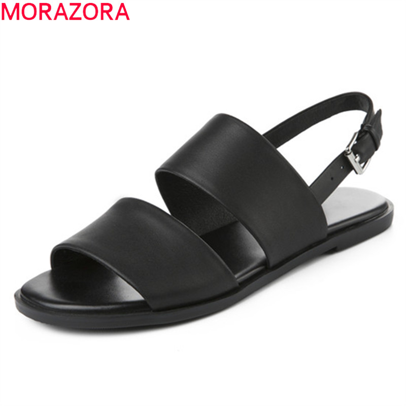 MORAZORA 2019 top quality genuine leather shoes women sandals buckle summer shoes beach casual sandals fashion