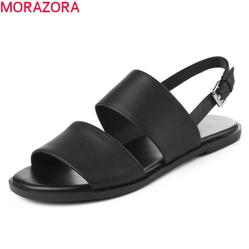 Morazora 2019 최고 품질 정품 가죽 신발 여성 샌들 버클 여름 신발 비치 캐주얼 샌들 패션 플랫 신발 여성-에서여성용 샌들부터 신발 의  그룹 1