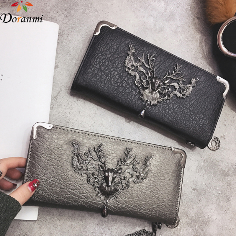 DORANMI Genuine Leather Long Wallet Vintage Women Simple Purse Coin Bags Clutch For Female Vintage Thin Purses NPJ075