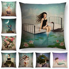 Hot Sale Elegant Lady Lovely Girl Shakespeare Fantasy Painting Moon Night Swan Dream Trees Cushion Cover Sofa Throw Pillow Case(China)