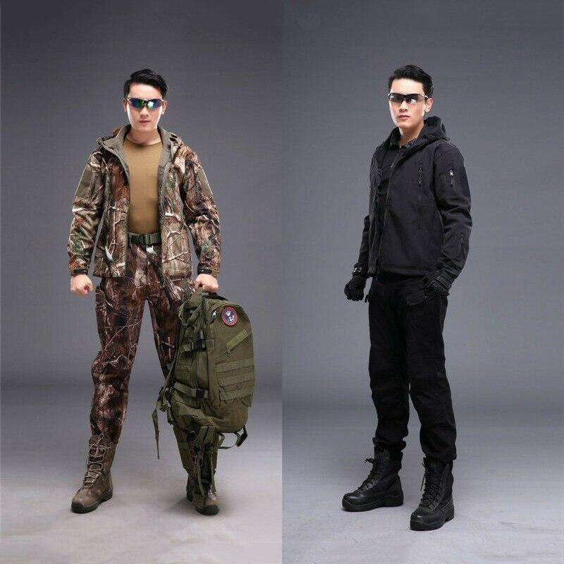 Costume tactique extérieur veste de chasse Ghillie costume veste polaire à coque souple pantalon pour tactique randonnée chasse Camo costume militaire