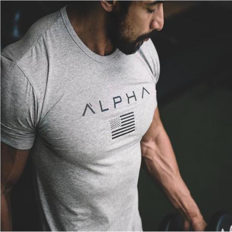ALPHA 2018 New Brand Clothing Gyms Tight   T  -  shirt   Mens Fitness   T  -  shirt   Homme Gyms   T     Shirt   Men Fitness Crossfit Summer Top Tees