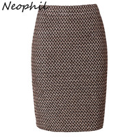 Neophil 2017 Luxy Vintage Gold Metal Ladies Bandage Sexy Office Pencil Mini Skirts Summer Women Sexy