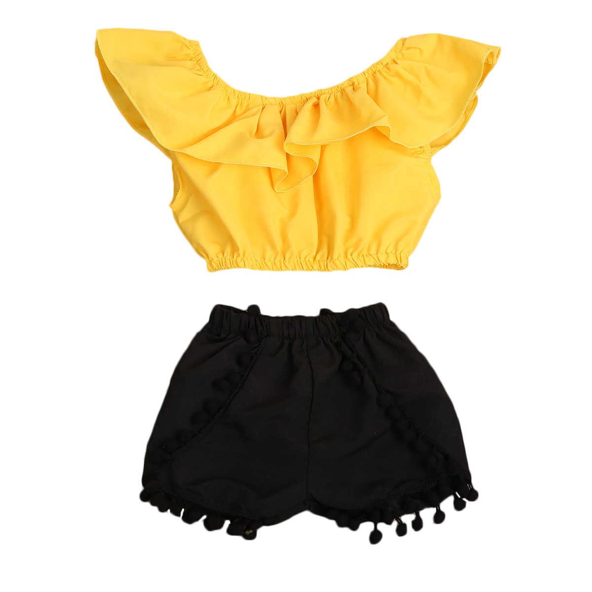Комплект одежды для маленьких детей  комплект для девочек топ футболки  кисточкой короткие штаны Летние для c70bf4fe01d