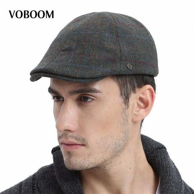 41b46b3c5 US $19.99  VOBOOM Wool Tweed Men Plaid Newsboy Cap Men Autumn Winter Warm  Ivy Caps Flat Hat Berets Boina 181-in Newsboy Caps from Apparel Accessories  ...