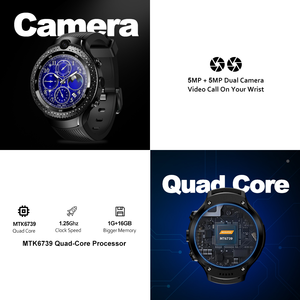 Zeblaze THOR 4 Dual 4G SmartWatch 5 0MP+5 0MP Dual Camera Android Watch 1 4