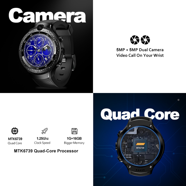 "New Zeblaze THOR 4 Dual 4G SmartWatch 5.0MP+5.0MP Dual Camera Android Watch 1.4"" AOMLED Display GPS/GLONASS 16GB Smart Watch Men 2"
