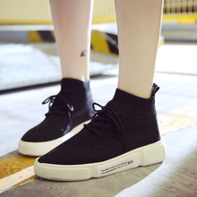 Discount Women's Shoes Flat Platform Flying Fashion Sneakers Woman High-top 2018 Autumn Winter New Lace-up Casual Shoes Brand 2019 hot womens fashion sneakers flying shoes platform shoes new woman casual low cut lace up high qualtiy europe brand design