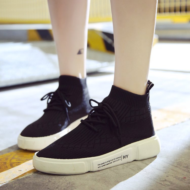 405dc3ed4061 Discount Women's Shoes Flat Platform Flying Fashion Sneakers Woman High-top 2018  Autumn Winter New