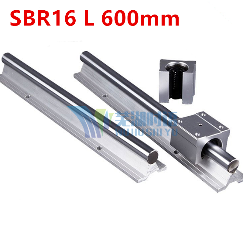 Fast Shipping: 2pcs SBR16 L 600mm Linear Bearing Rails + 4pcs SBR16UU Linear Motion Bearing Blocks (can be cut any length)