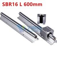 Fast Shipping 2pcs SBR16 L 600mm Linear Bearing Rails 4pcs SBR16UU Linear Motion Bearing Blocks Can
