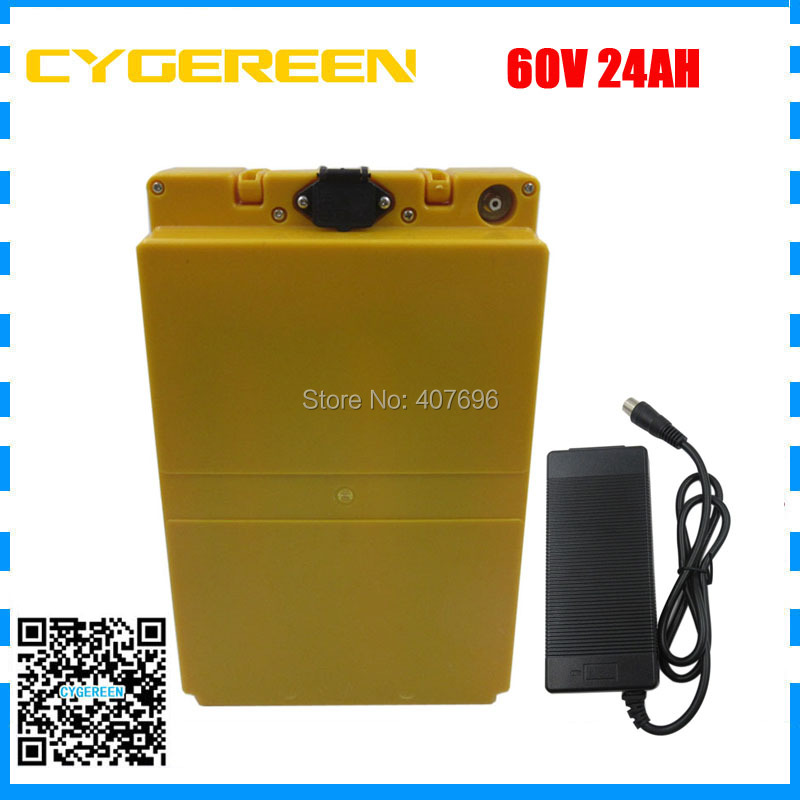 цена на Free customs duty battery 60V 24AH with plastic case 60 Volt lithium Electric bicycle battery use 3000mah 18650 cell 30A BMS