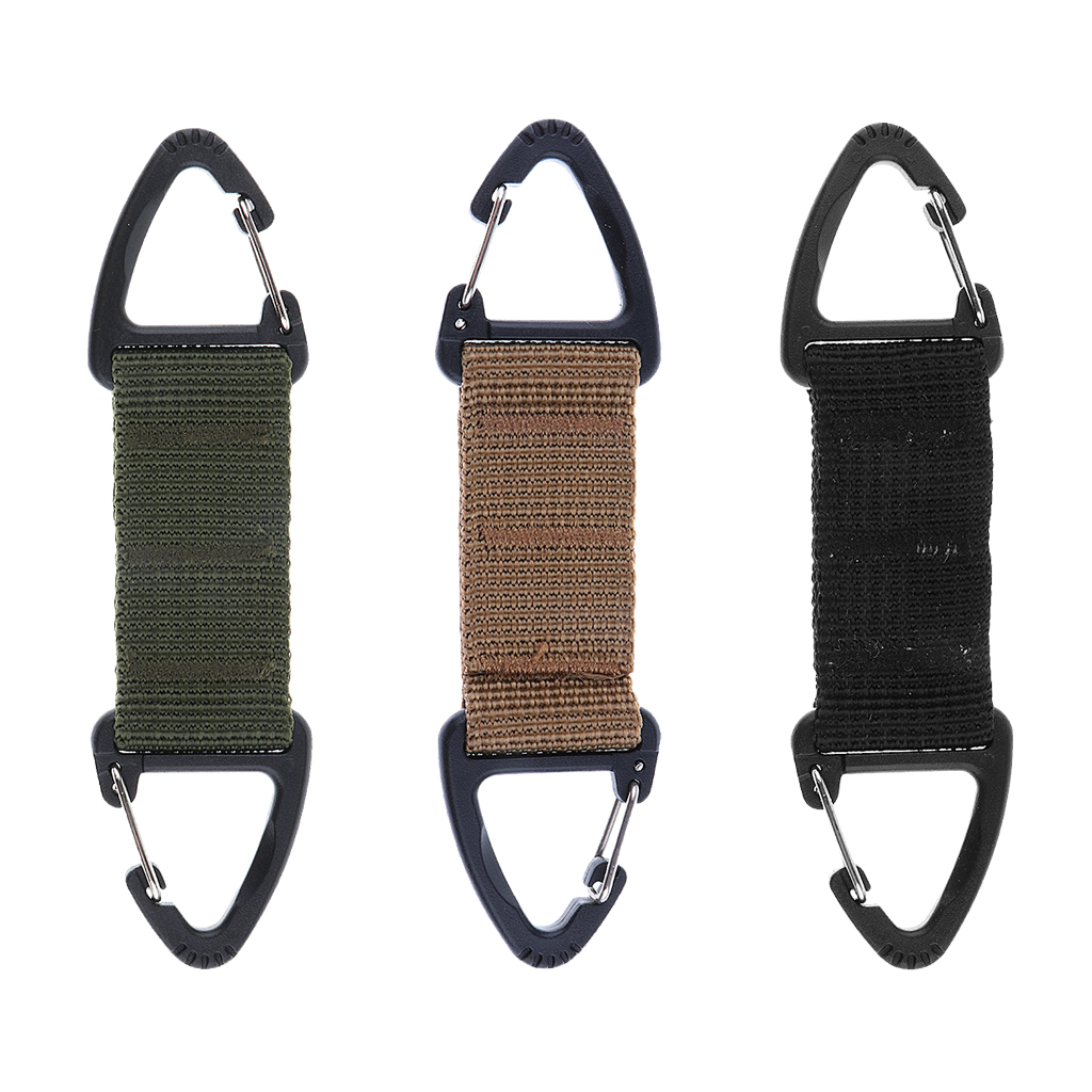 Image 2 - Climbing Accessories Webbing Double Ended Triangular Carabiner Clip Outdoor Hiking High Strength Nylon Spring Snap Hook 3Colors-in Climbing Accessories from Sports & Entertainment