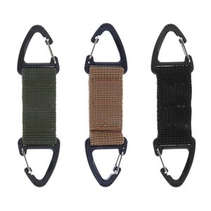 Image 2 - Climbing Accessories Webbing Double Ended Triangular Carabiner Clip Outdoor Hiking High Strength Nylon Spring Snap Hook 3Colors