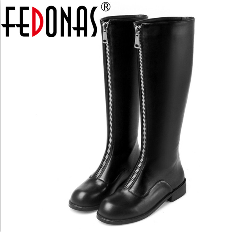 FEDONAS Brand Top Quality Women Genuine Leather Thick Heel Knee High Winter Warm Boots Zipper Shoes Woman Long Martin Snow Boots fedonas top quality winter ankle boots women platform high heels genuine leather shoes woman warm plush snow motorcycle boots