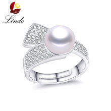 Vinatge 925 Sterling Silver Rings For Women Fashion Adjust No Defect Real Natural Pearl Ring Wedding Solid Silver Jewelry Lindo(China)
