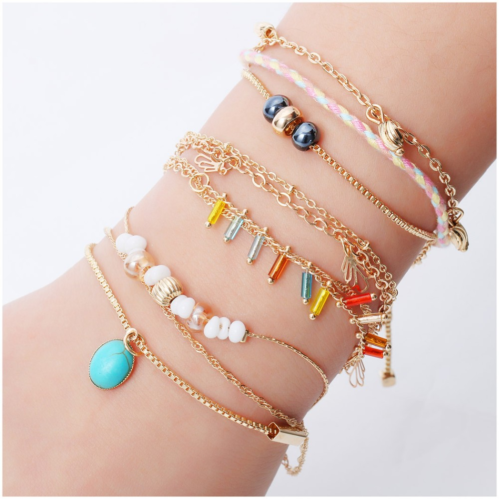 2018 Big Sale Wholesale Various Styles Fashion Jewelry Multiple Double Chain Bead Leaves Pendant Boho Handmade Bracelet For Gift