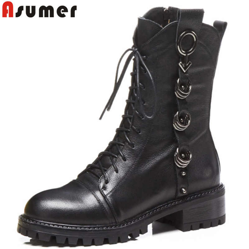 ASUMER 2018 fashion ankle boots for women square heel genuine leather boots lace up med heels round toe ladies motorcycle boots